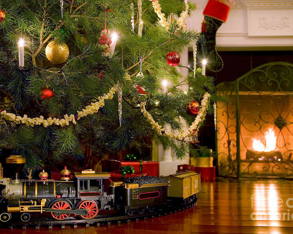 train under tree